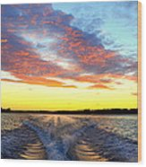 Racing Home Before The Sun Sets Wood Print