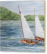 Racing On The Lake Wood Print