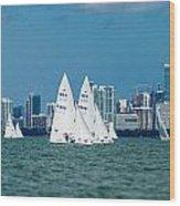 Racing Past Miami Wood Print