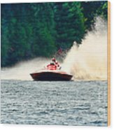 Racing Speed Boat Wood Print