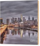 Racing To The City Lights - Philly Wood Print
