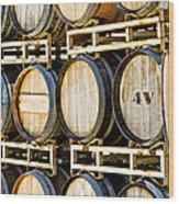 Rack Of Old Oak Wine Barrels Wood Print by Susan Schmitz
