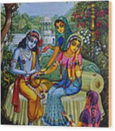 Radha Krishna Man Lila On Radha Kunda Wood Print by Vrindavan Das