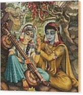 Radha Playing Vina Wood Print by Vrindavan Das