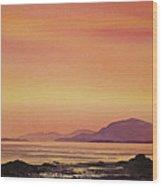 Radiant Island Sunset Wood Print