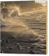 Radiant Sunrise Surf Wood Print