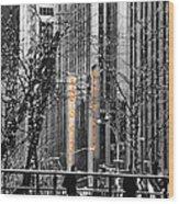 Radio City At Christmas - Black And White Wood Print
