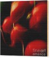 Radishes Ignited Wood Print by Sharon Costa