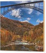 Rafting Down The New River Gorge Wood Print