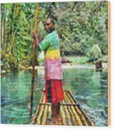 Rafting The Martha Brae Wood Print by Lester Phipps