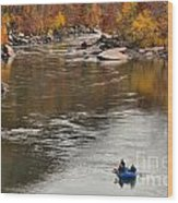 Rafting The New River Wood Print