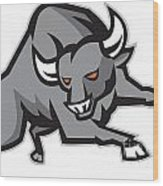 Raging Bull Attacking Charging Retro Wood Print