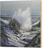Raging Surf Wood Print by Frank Wilson