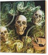 Raging Wars Of Pirates Past Wood Print