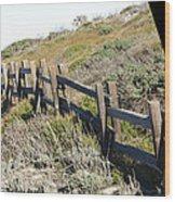 Rail Fence Black Wood Print by Barbara Snyder