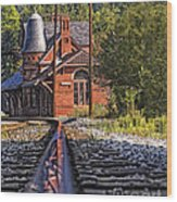 Rail Reflection At The Train Station Wood Print