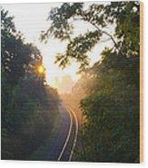 Rail Road Sunrise Wood Print