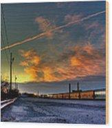Railroad At Dawn Wood Print