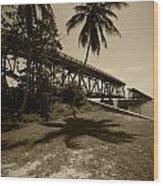 Railroad  Bridge In Sepia Wood Print