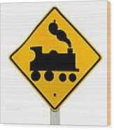 Railroad Crossing Steam Engine Roadsign On White Wood Print