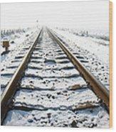 Railroad In Snow Wood Print
