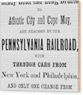 Railroad Resorts, 1884 Wood Print