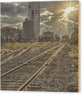 Railroad Sunrise Wood Print