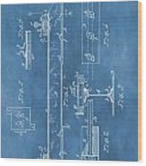Railroad Tie Patent On Blue Wood Print