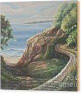 Railroad Track By The Beach Wood Print