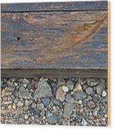 Railroad Track Closeup Background Wood Print