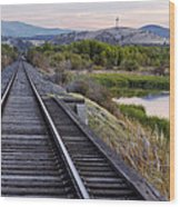 Railroad Tracks Leading To The Mountains Wood Print