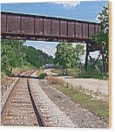Railroad Train Tracks And Trestle Wood Print