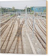 Railroad Train Yard Wood Print
