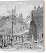 Railroad Washout, 1885 Wood Print