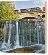 Railroad Waterfall Wood Print