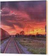 Rails To A Red Sunset Wood Print