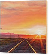 Rails To The Red Sky Wood Print