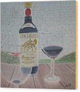Rain And Wine Wood Print
