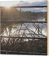 Rain Drops On Railing River View 1 Wood Print