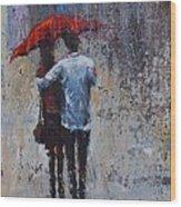Rain Embrace Wood Print