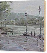 Rain In Lewiston Waterfront Wood Print