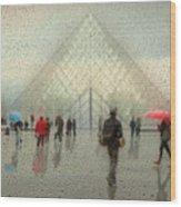 Rain In Paris Wood Print