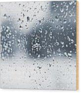 Rain In Winter Wood Print