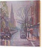 Rain On Newbury St Wood Print