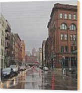 Rain On Water Street 1 Wood Print