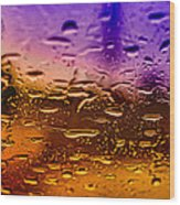 Rain On Windshield Wood Print by J Riley Johnson