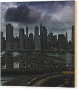 Rain Showers Likely Over Downtown Manhattan Wood Print