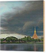 Rain Storm Lake View Wood Print