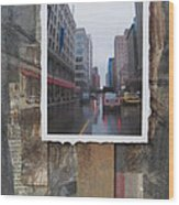 Rain Wisconcin Ave Tall View Wood Print
