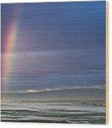 Rainbow Above The Bay Wood Print